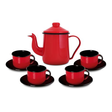 Conjunto de café Ewel Vermelho