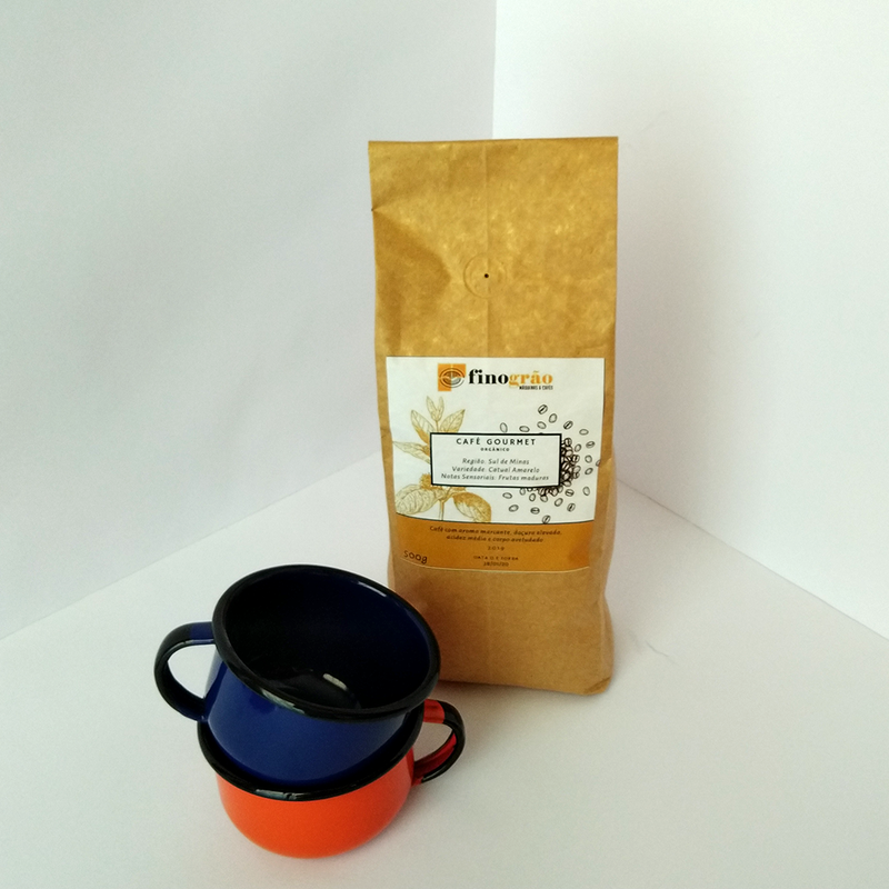 Kit 2 Canecas Esmaltadas + Café Fino Grão